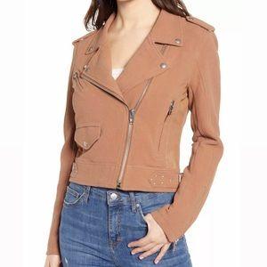 BLANKNYC Tan Textured Cotton Moto Jacket